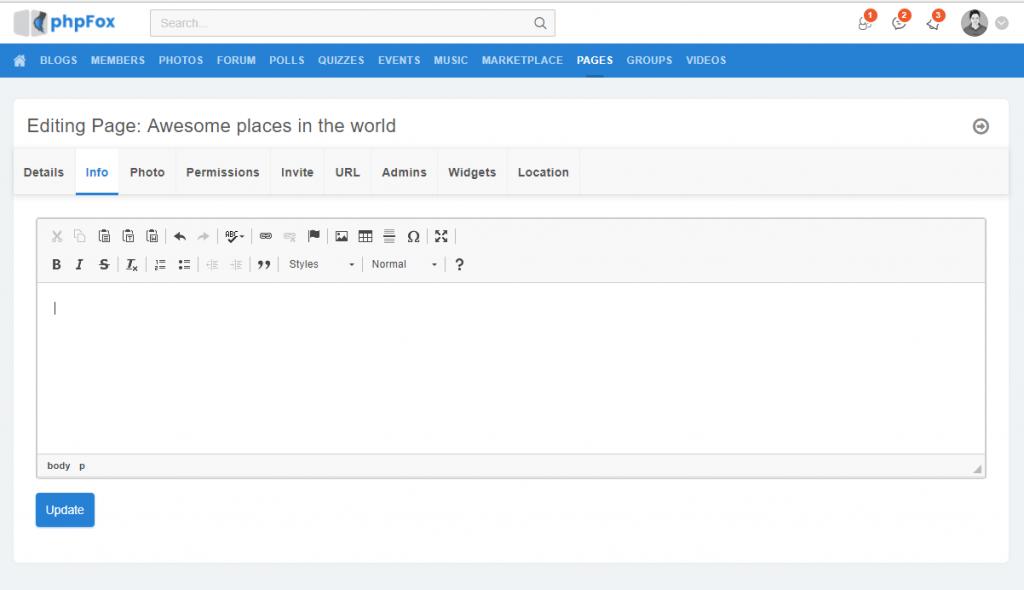 WYSIWYG Text Editor - phpFox Social Network