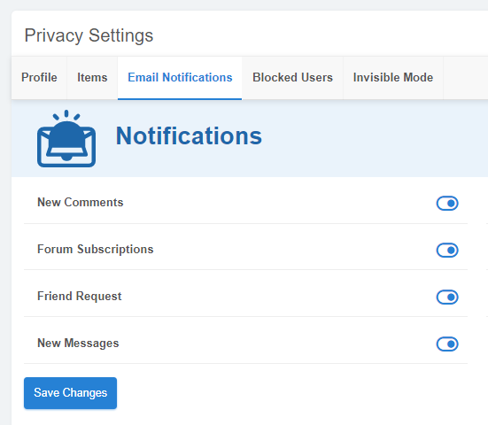 Privacy Settings for Notifications