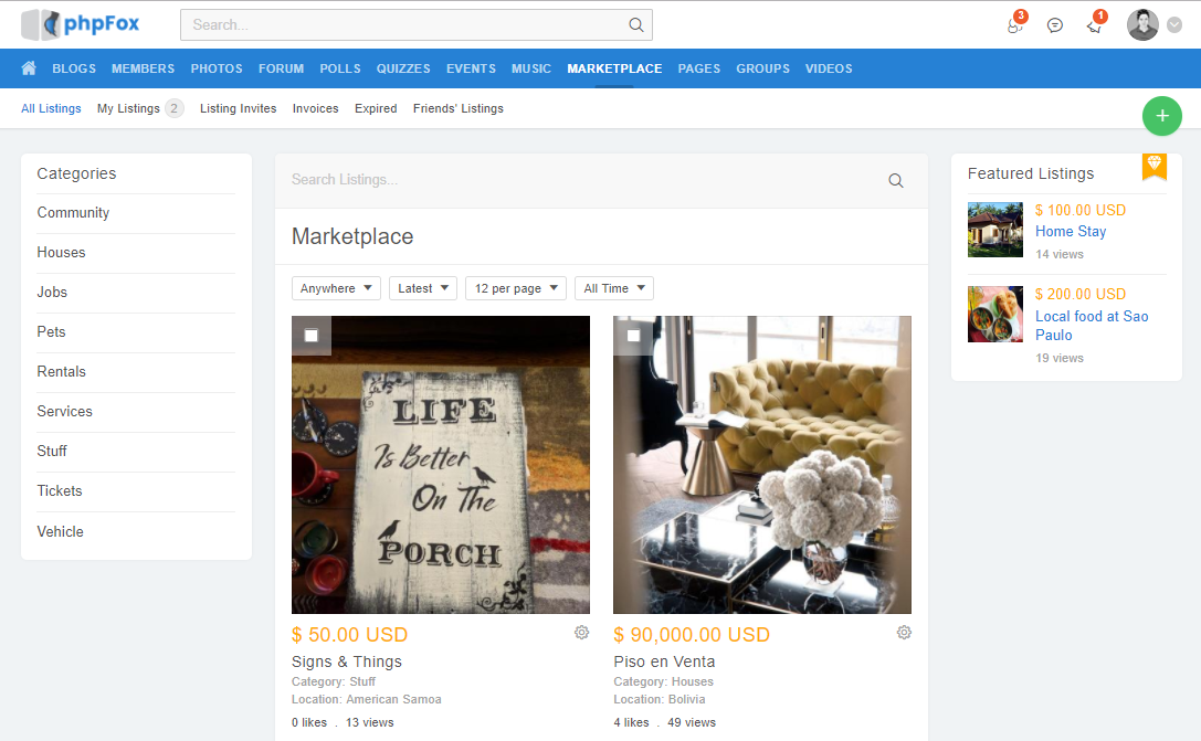 Marketplace - phpFox Social Network