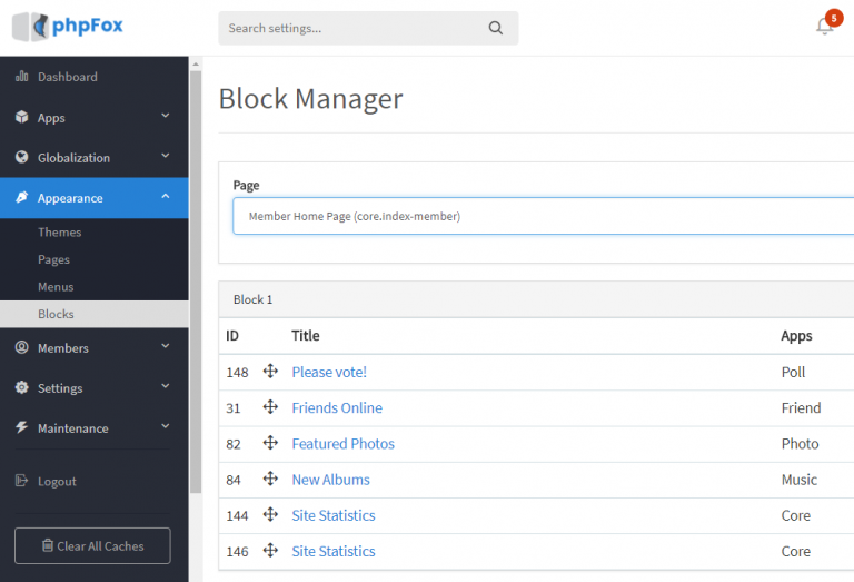 Blocks Manager
