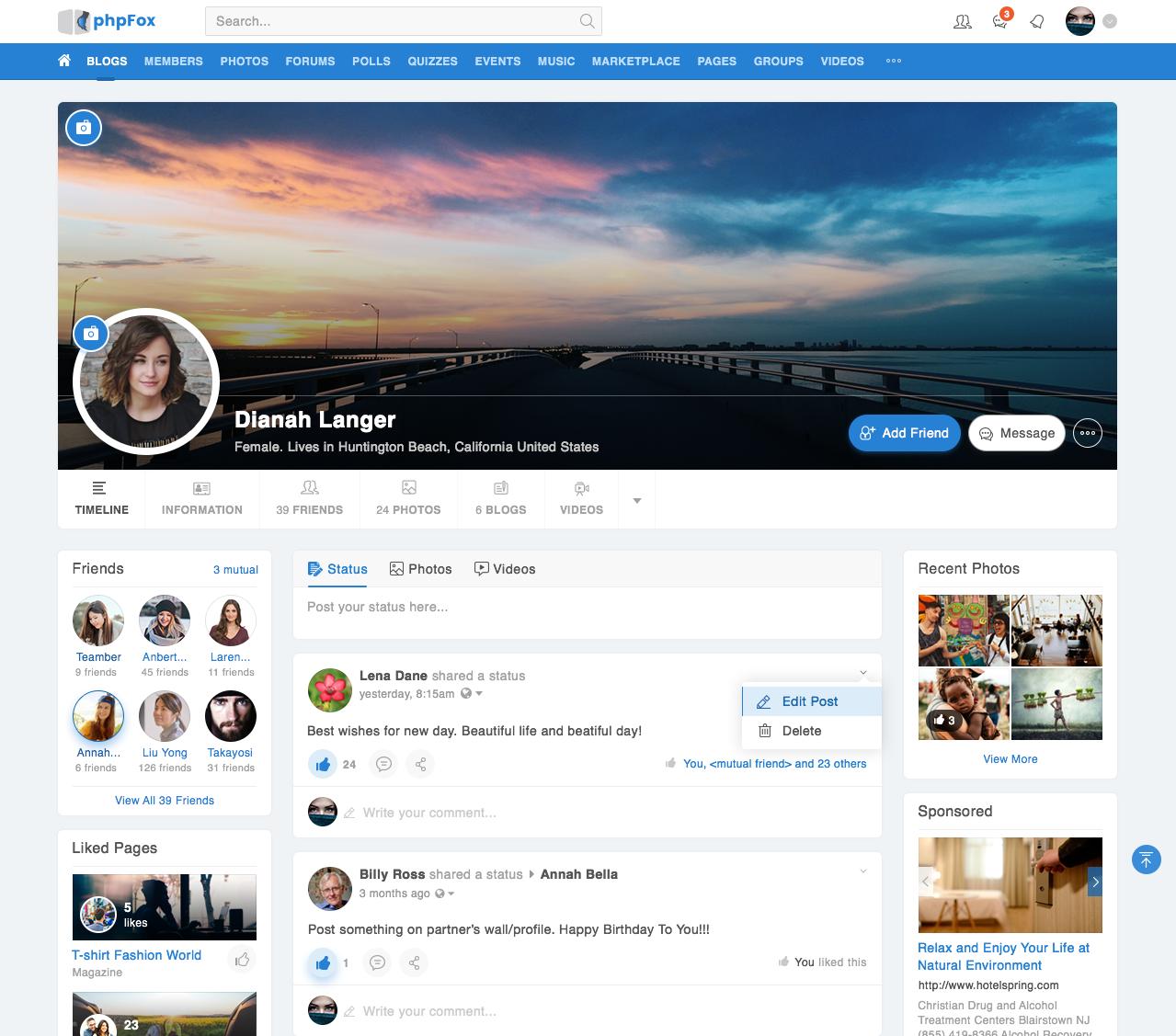 phpFox 4.6.0 Material Template - Member Profile