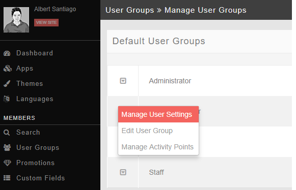 manage usergroup