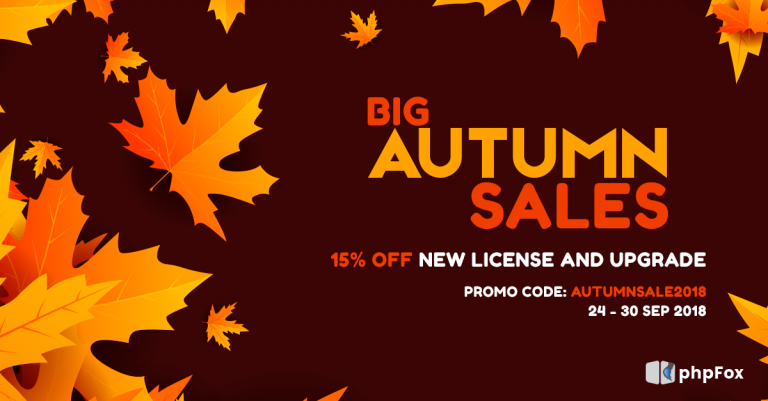 Big Autumn Sales – 15% Off on New License and upgrade