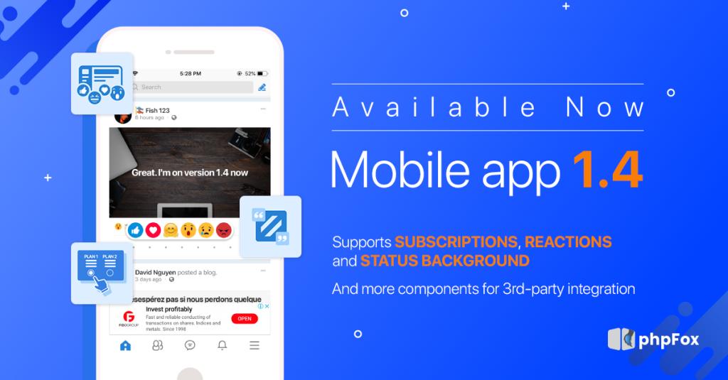 phpFox Mobile App version 1.4