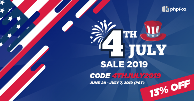 4th of July Sales: Happy holiday and Save 13%