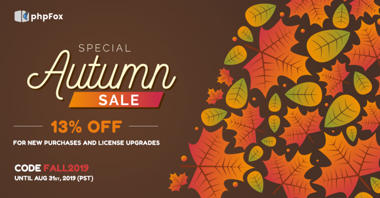 Special Autumn Sales 2019 – Spread love and get 13% Off